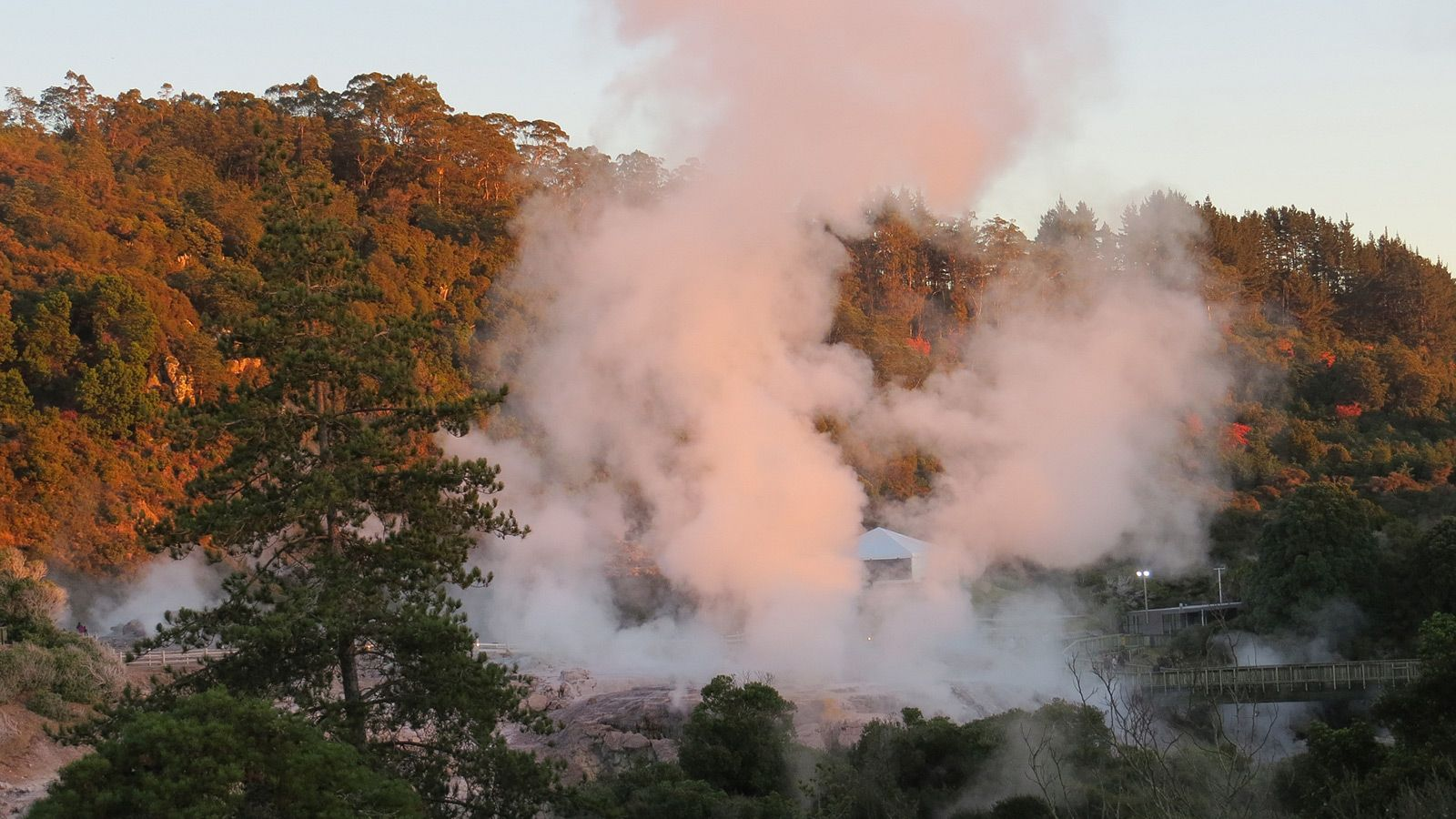 View To Te Puia Hotsprings, From Pohutu Lodge Accommodation Rotorua